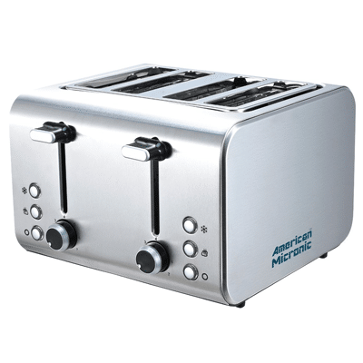 American Micronic Imported Stainless Steel Pop-up Toaster