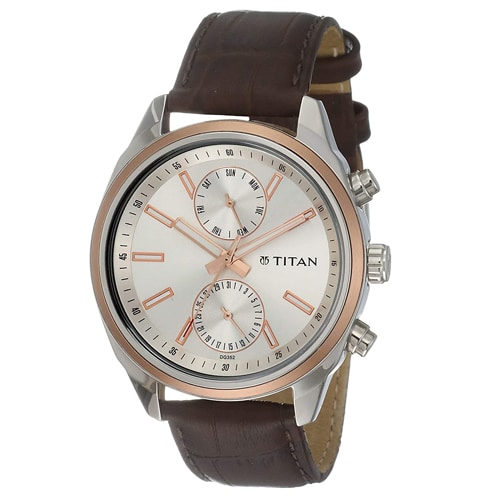 Titan Men's 'Neo' Fashion Brass and Silver Toned Strap, Trustedreview