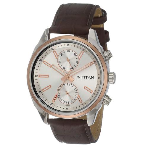Titan Men's 'Neo' Fashion Brass and Silver Toned Strap, Trustedreview