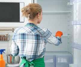 Woman Gloves Cleaning Refrigerator